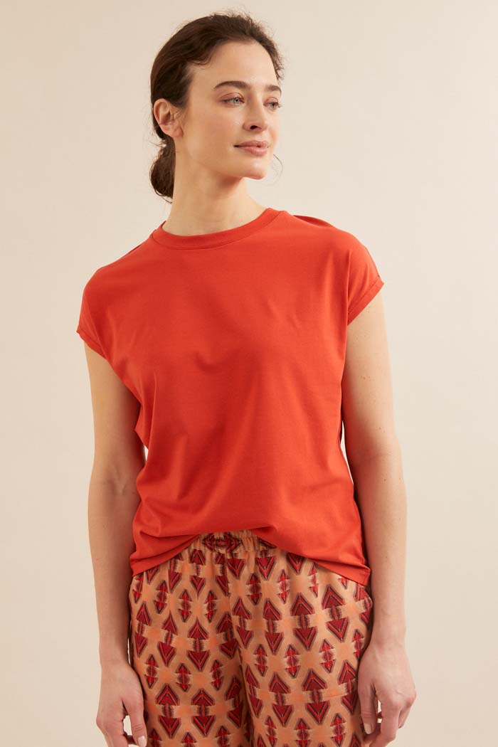 Dames T-shirt duurzaam rood_Lanius_redpepper12452_voorkant