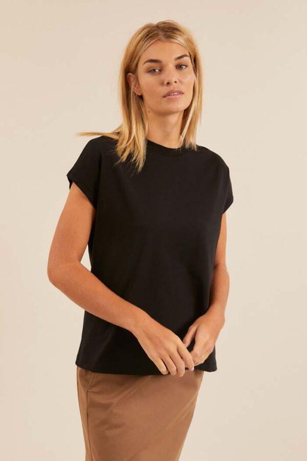 Dames T-shirt duurzaam zwart_Lanius12452zwart_voorkant