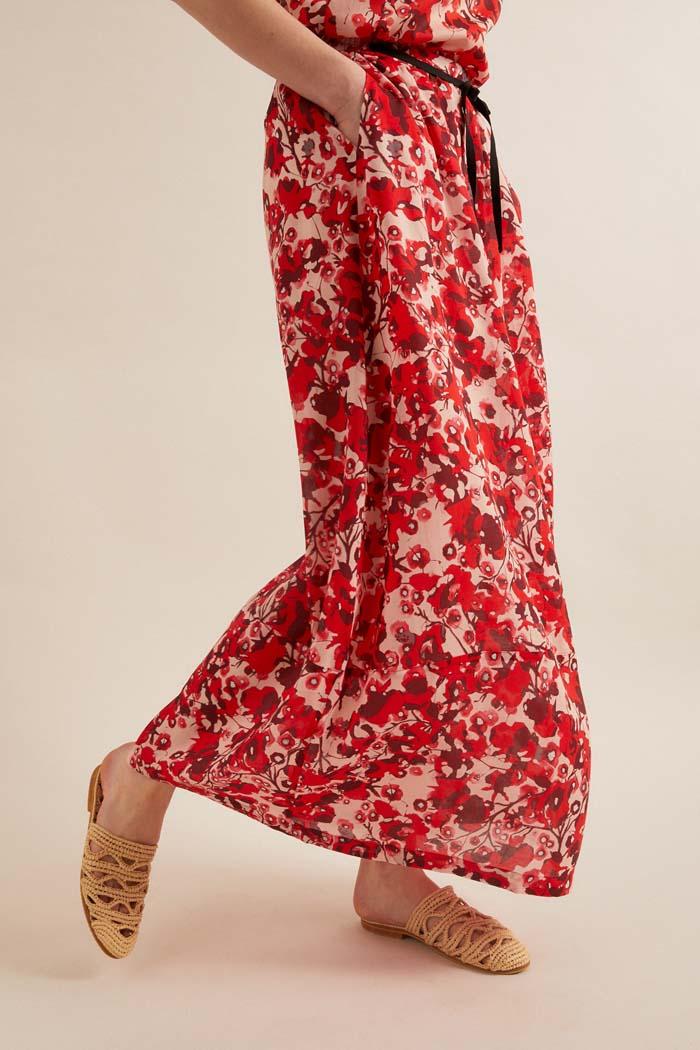 Lange rok duurzaam tencel_Lanius_rood12538_zijkant