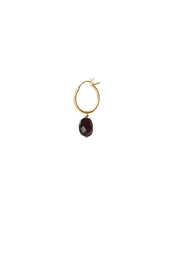 Oorbel Hoop Garnet gold