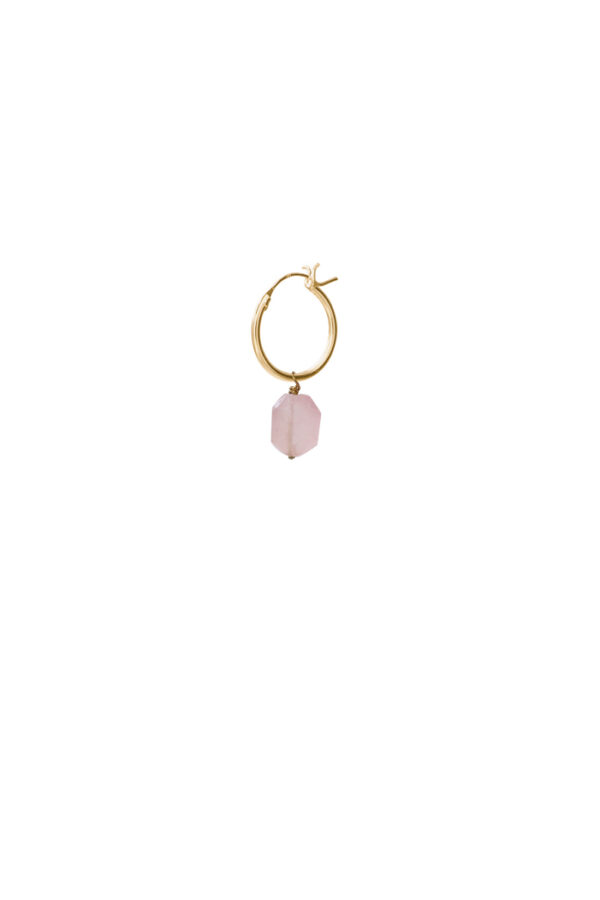 Oorbel Hoop Rose quartz gold