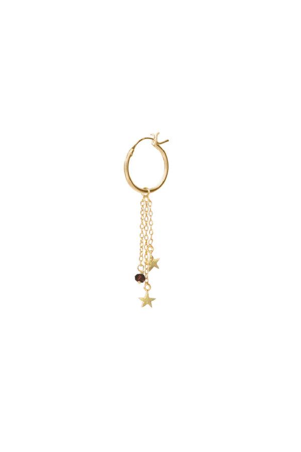 Oorbel Hoop Stars_Black Onyx gold_voor