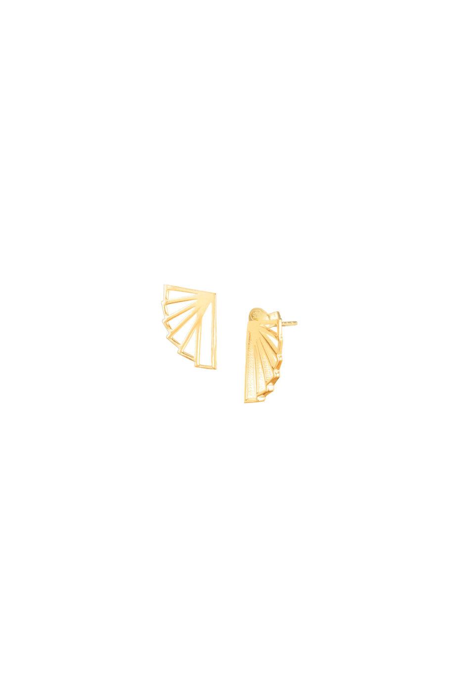 Oorbellen duurzaam_Fan Stud goud_Protsaah_heel