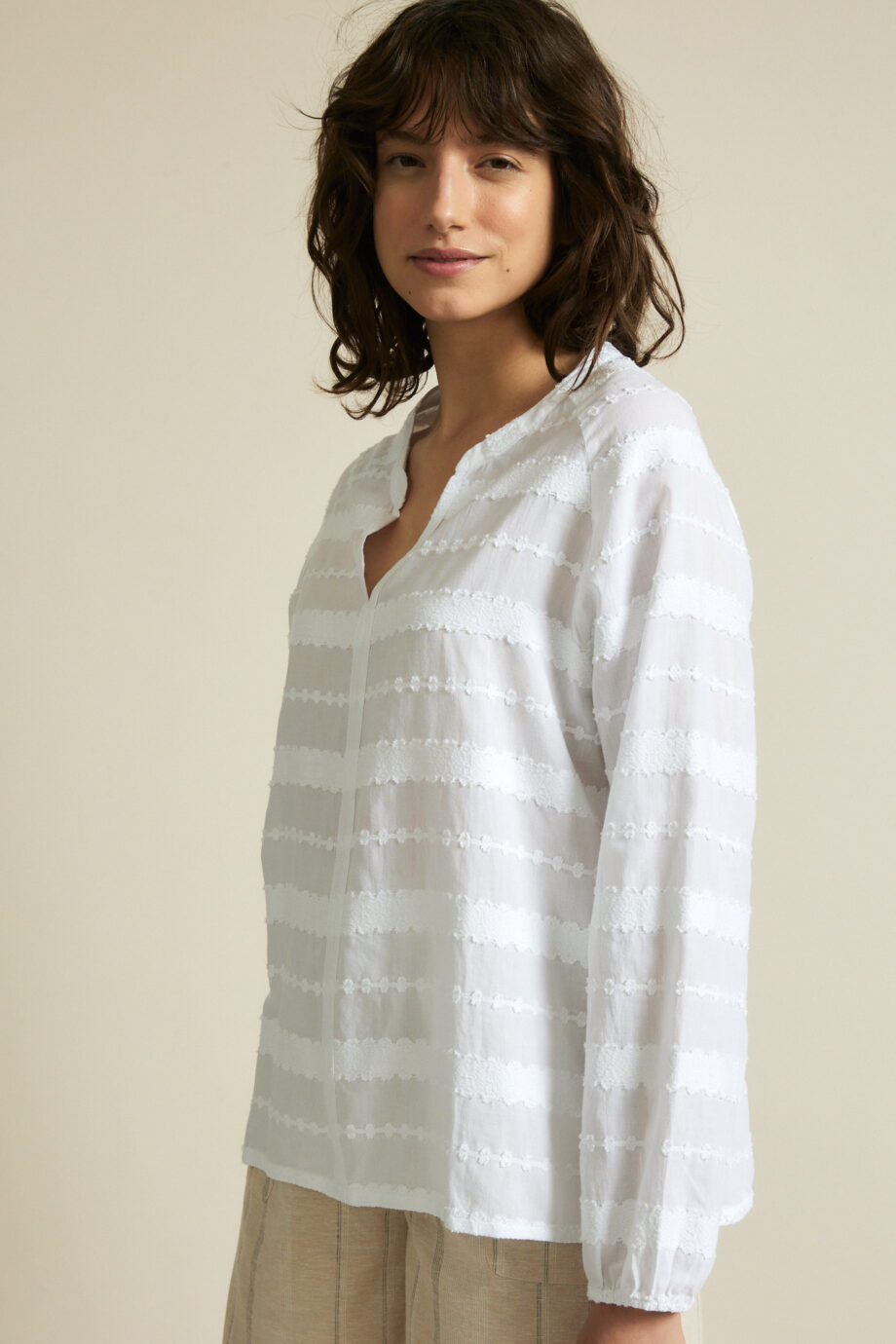 Lanius_Jaquard blouse_wit_zij
