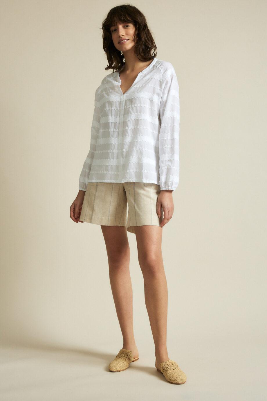 Lanius_Jaquard blouse_wit_heel
