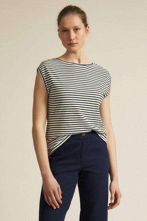 Lanius_T-shirt gestreept_zwart wit_voor