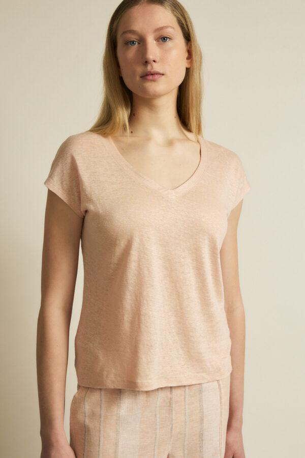 Lanius_Shirt v-hals GOTS_roze_model