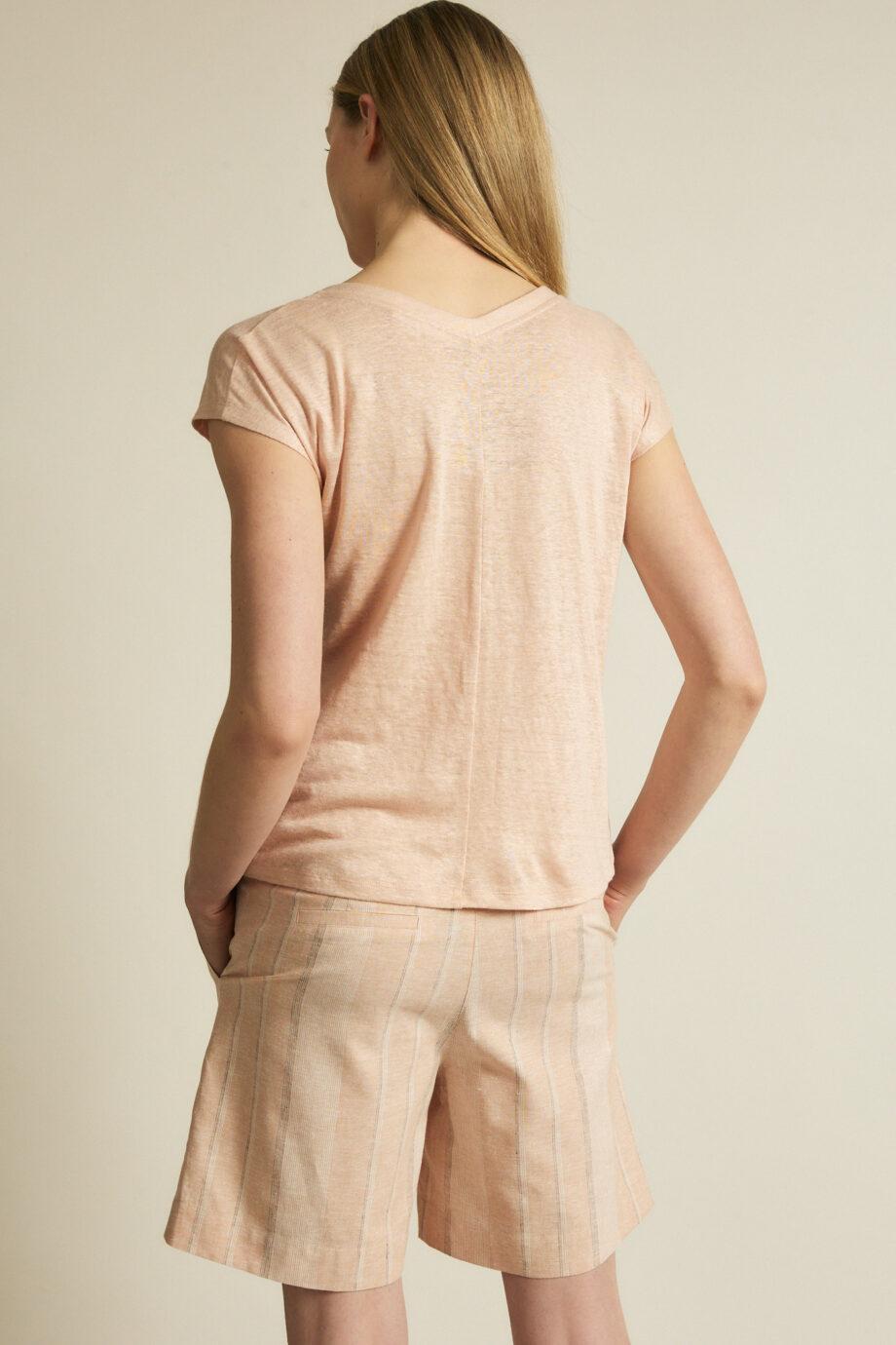 Lanius_Shirt v-hals GOTS_roze_achter