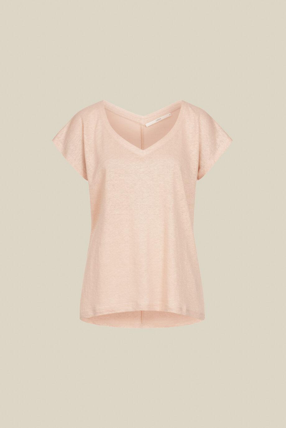Lanius_Shirt v-hals GOTS_roze_los