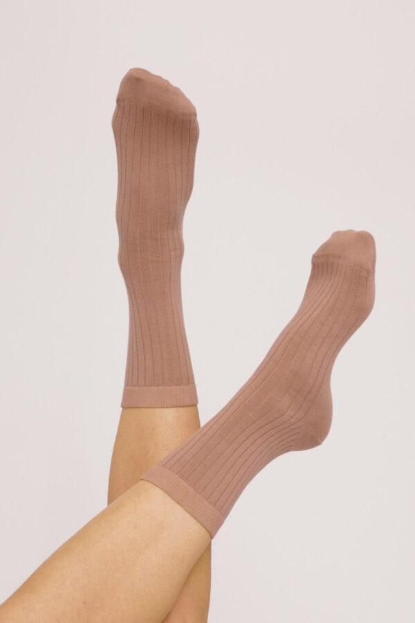 Organic Basics - Sokken Rib – oud roze_model