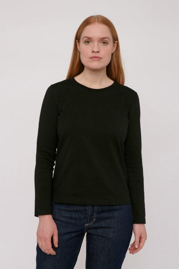 Organic Basics - T-shirt Lange Mouw – zwart_front