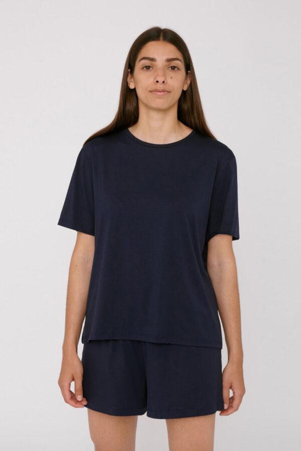 Organic Basics - T-shirt Tencel– Navy_front