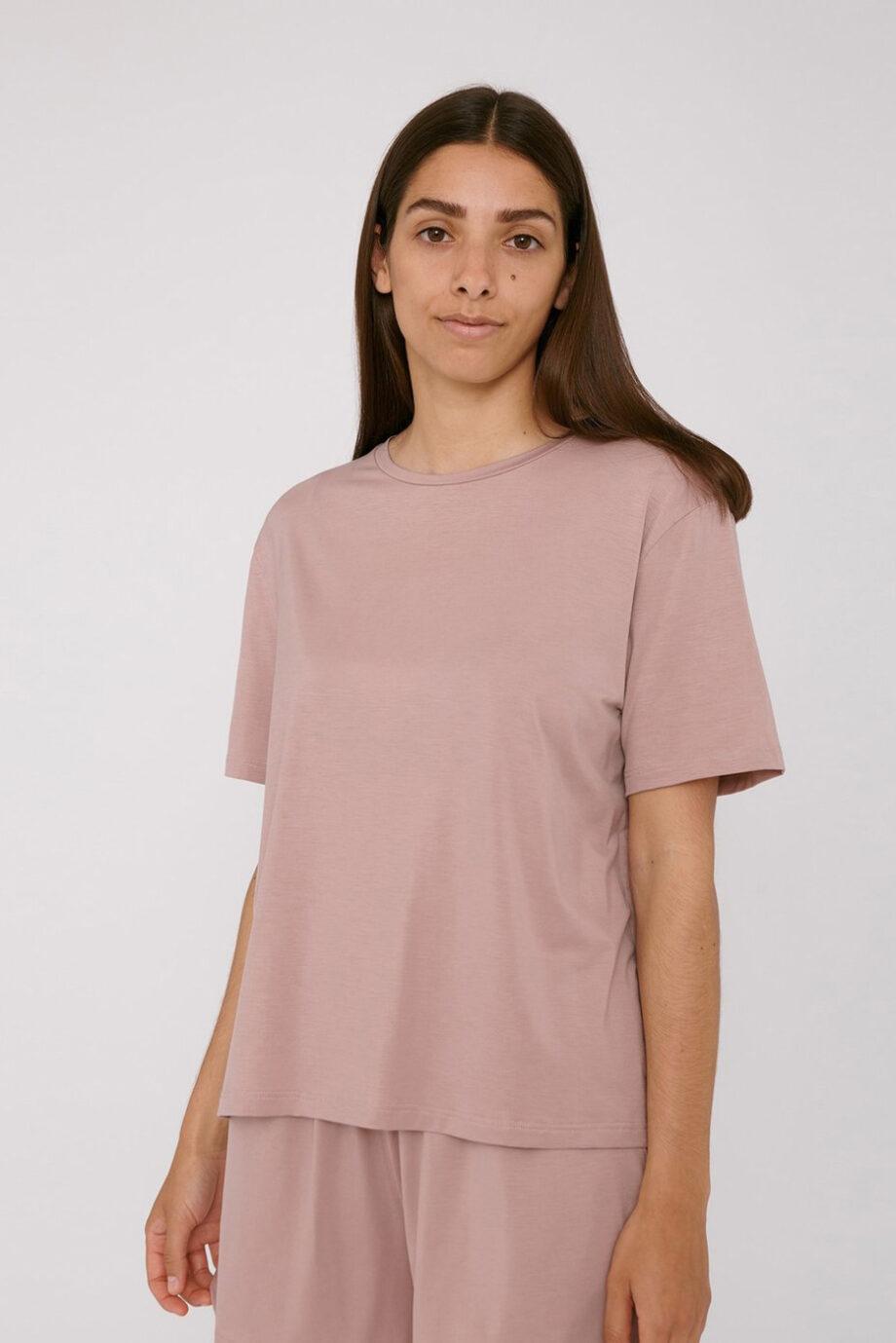 Organic Basics - T-shirt Tencel– Oud Roze_front