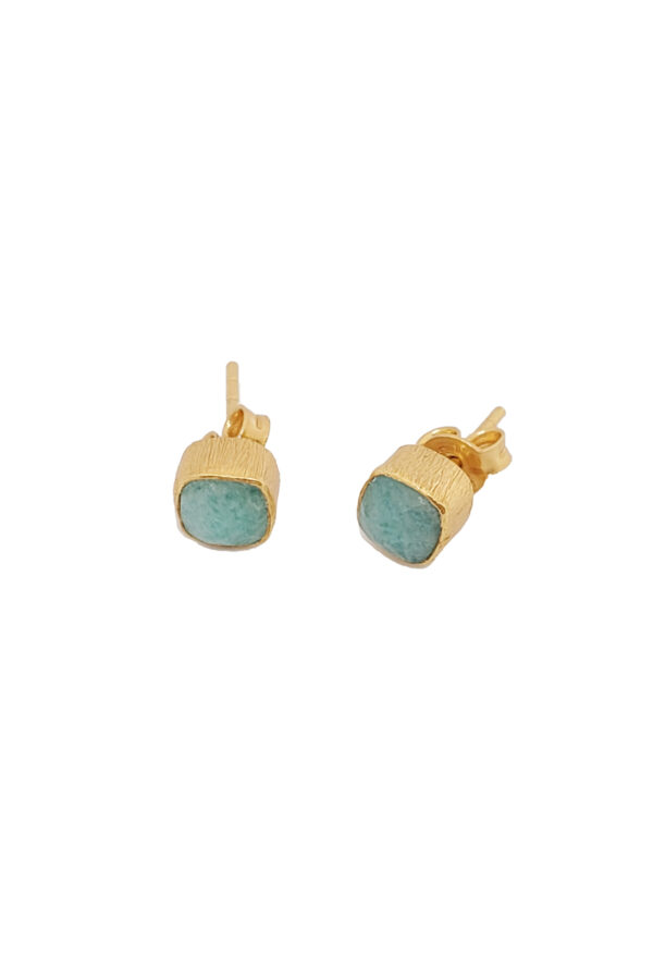 Protsaah-Small Studs-Rounded-Square-Amazonite-goud