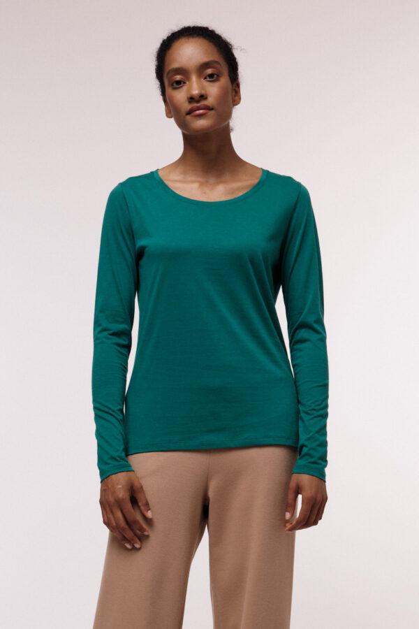 Lanius T-shirt lange mouw groen_voor